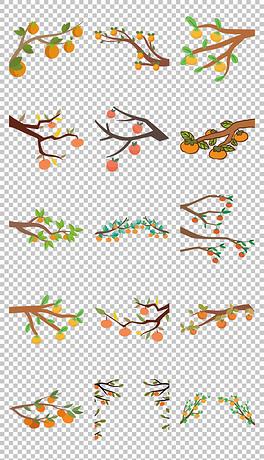 平面手绘卡通柿子果实免抠png素材
