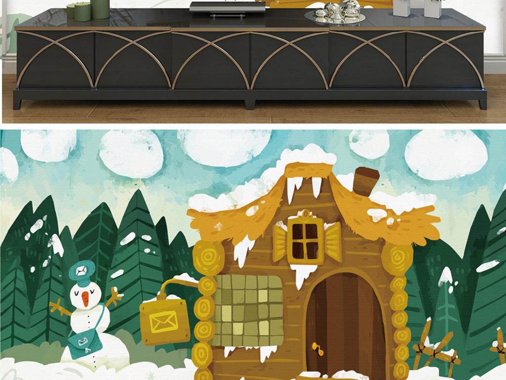 手绘雪人木屋树林图片设计素材_高清模板下载(32.11mb