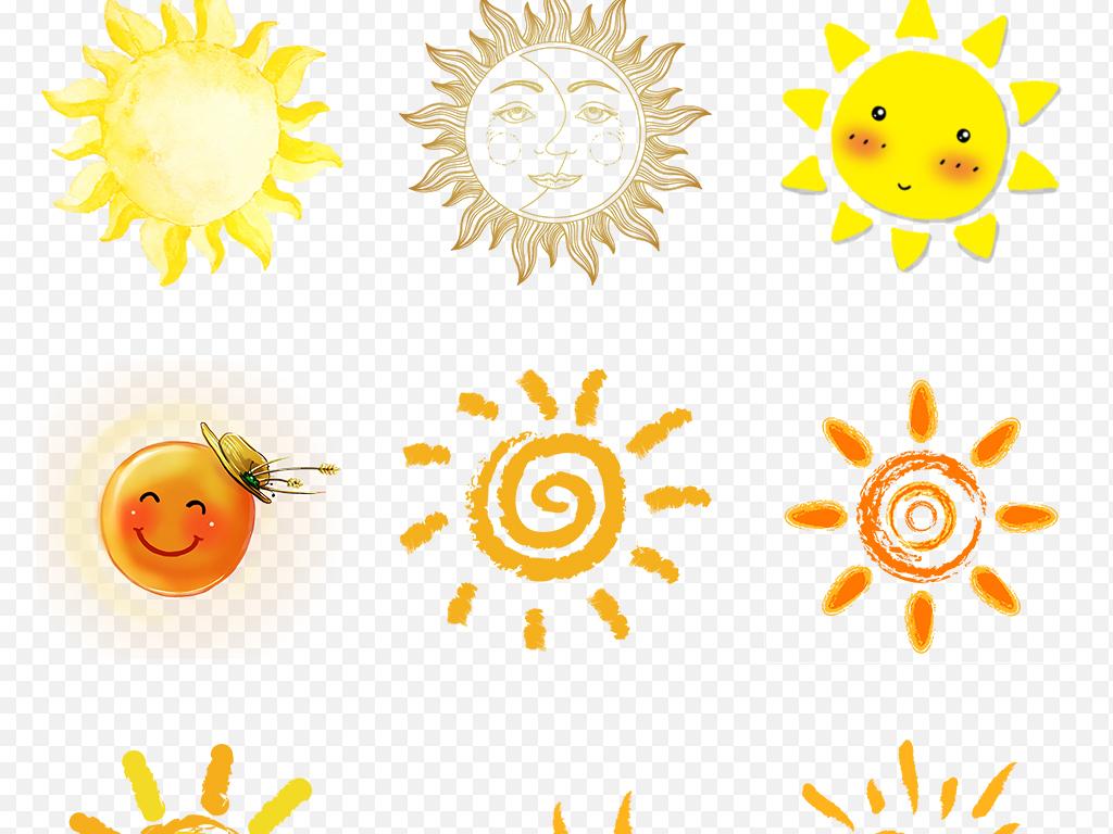 卡通可爱小清新手绘太阳海报素材背景图片png