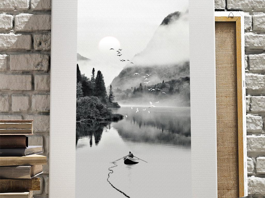 新中式黑白意境山水风景玄关装饰画