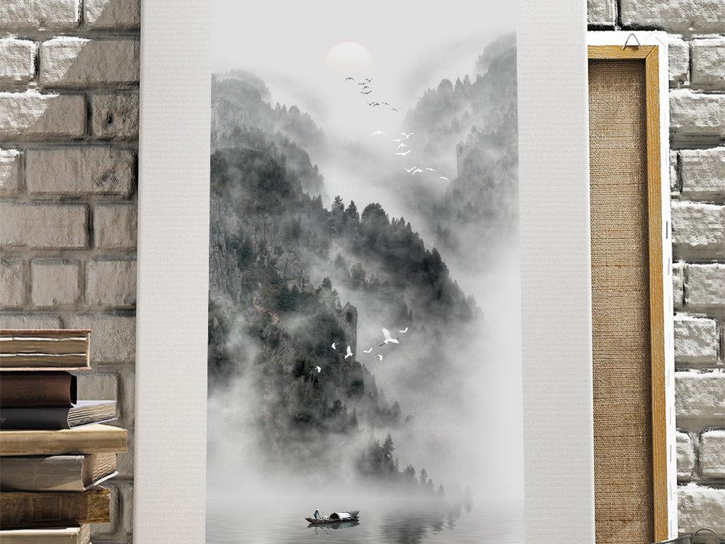 新中式黑白禅境山水风景玄关装饰画