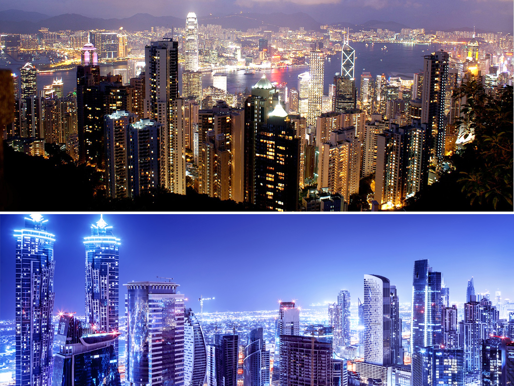 高清商务办公城市建筑唯美夜景繁华都市海报背景图2