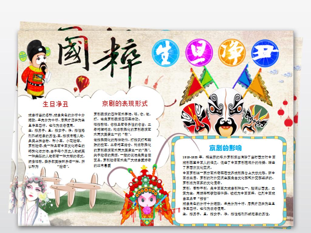戏曲小报国粹京剧手抄报中国戏曲电子小报