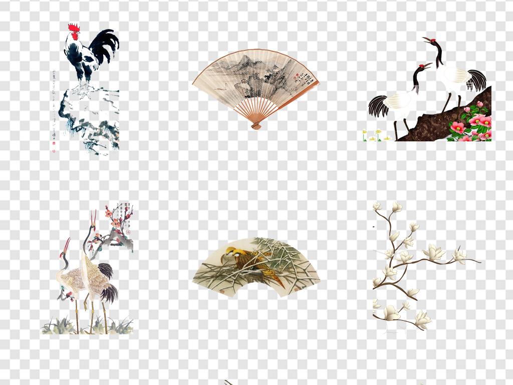免抠元素 自然素材 其他 > 古代工笔画水墨国画手绘花卉工笔画  素材