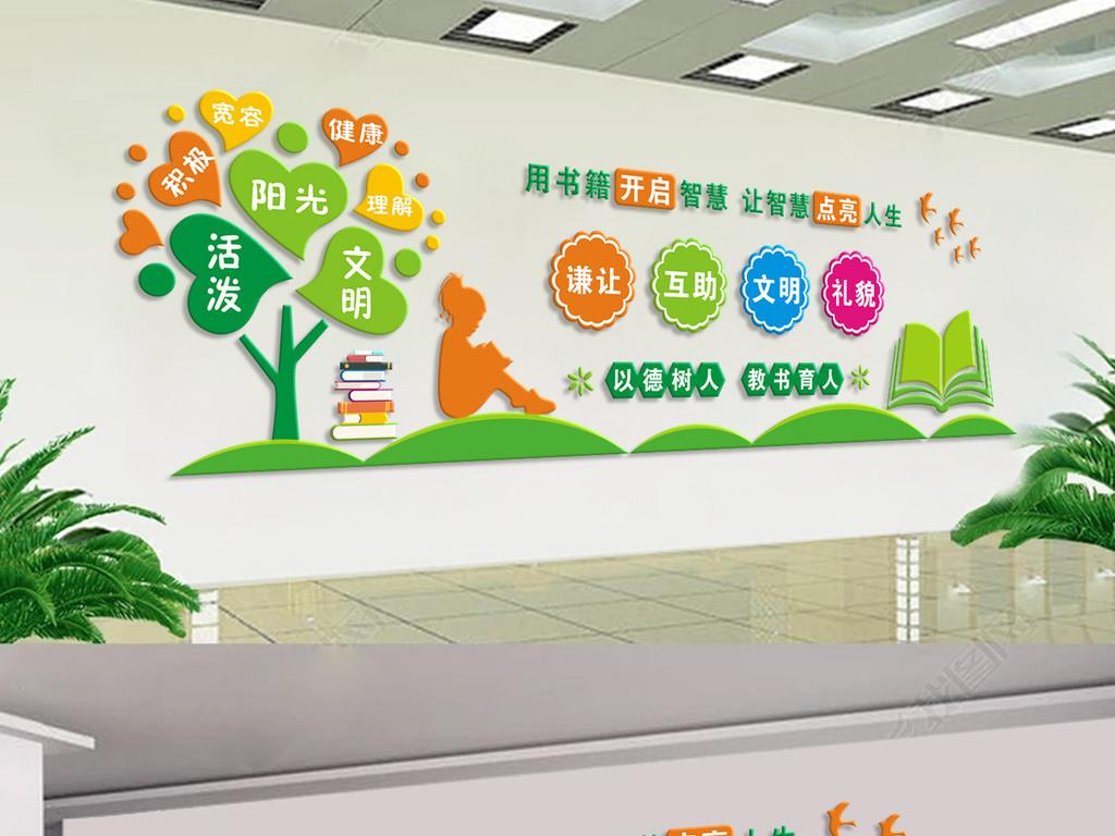 文明礼仪学校文化墙学校教室走廊布置设计图片
