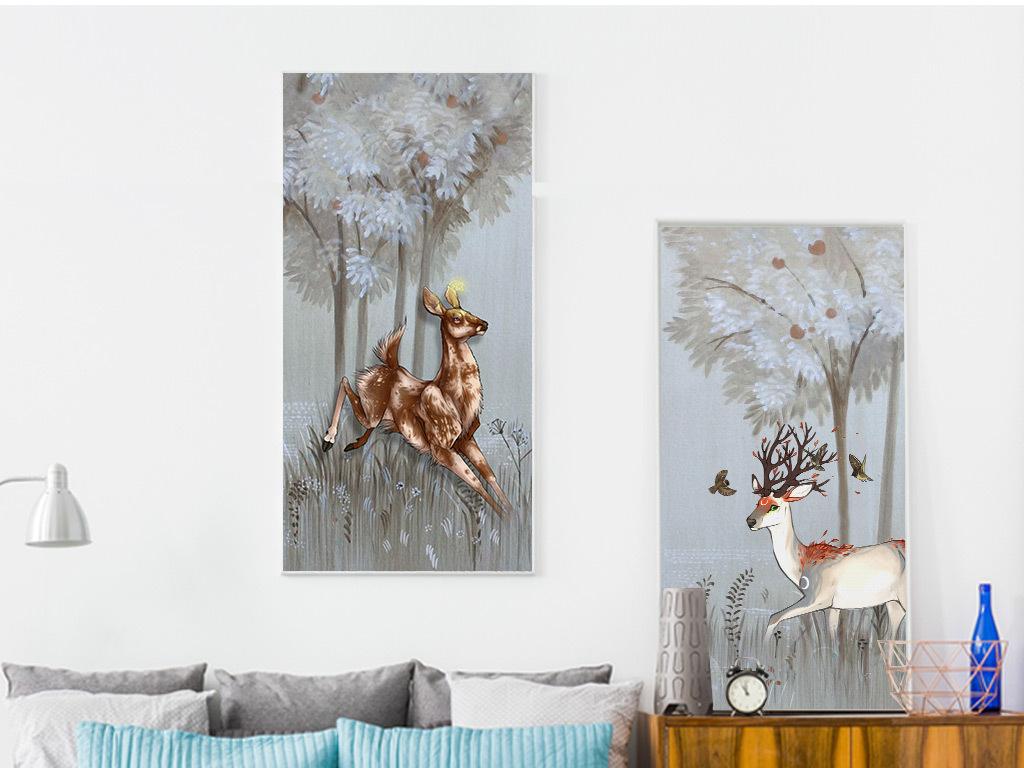 北欧手绘油画小清新森林麋鹿双联装饰画