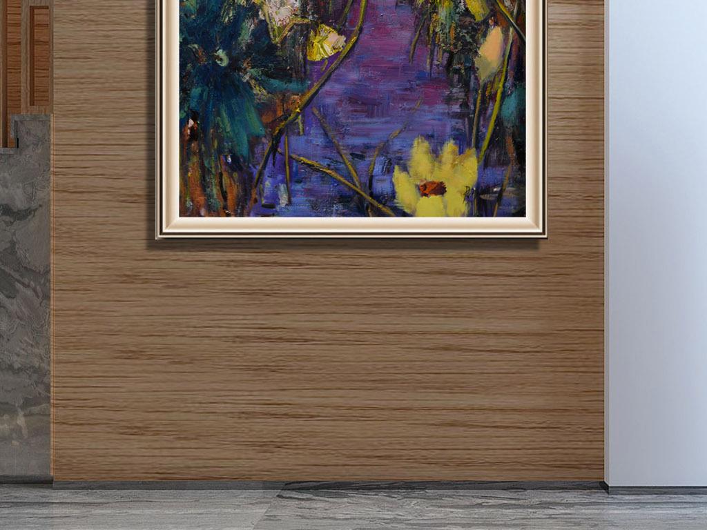 手绘抽象荷花客厅装饰
