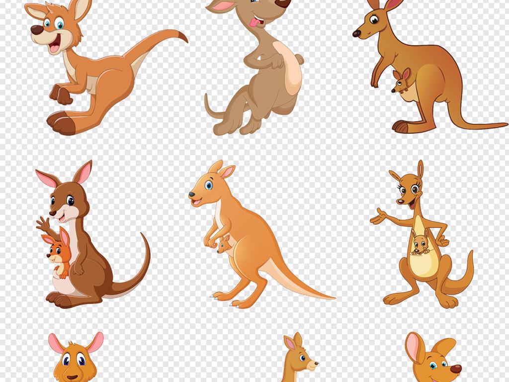 原创卡通手绘小动物澳大利亚袋鼠png素材