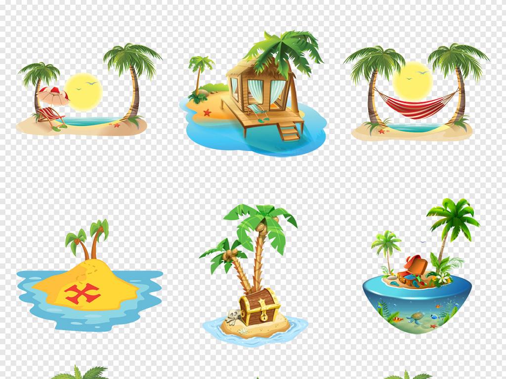 卡通手绘夏季夏天绿色椰子树小岛屿png