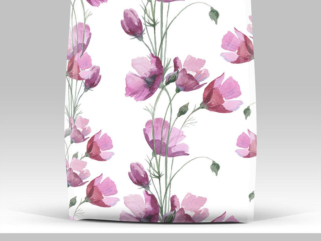 免抠元素 自然素材 花卉 > 高清手绘水彩花卉背景装饰图案素材  素材