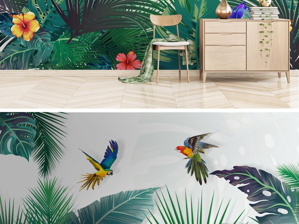 中世纪手绘热带森林彩色鹦鹉背景墙壁画壁纸