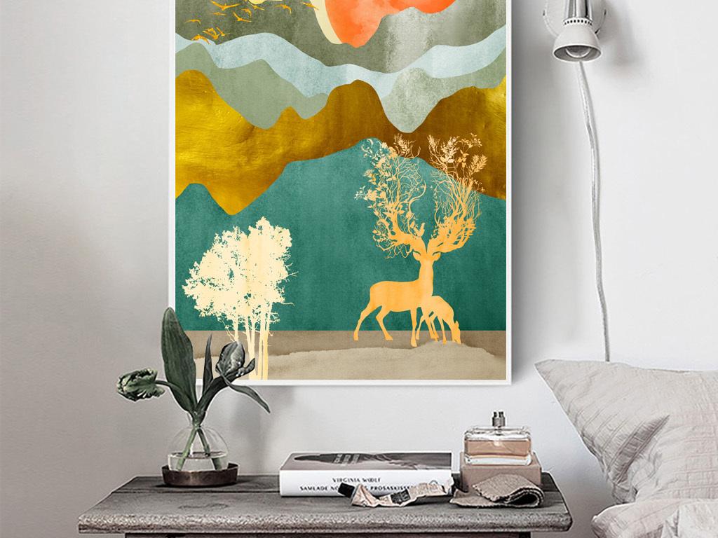 新中式现代手绘北欧抽象山脉风景玄关装饰画