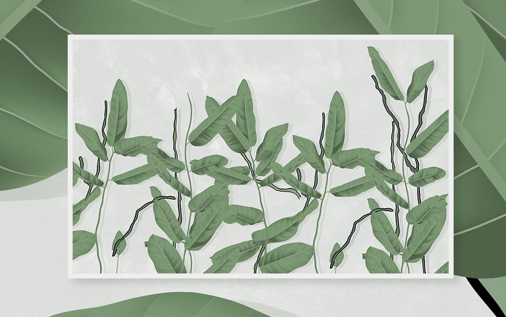 北欧现代简约风格手绘复古植物电视背景墙