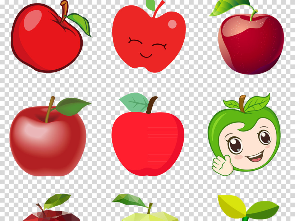 卡通手绘苹果图标苹果图案海报背景png免扣素材
