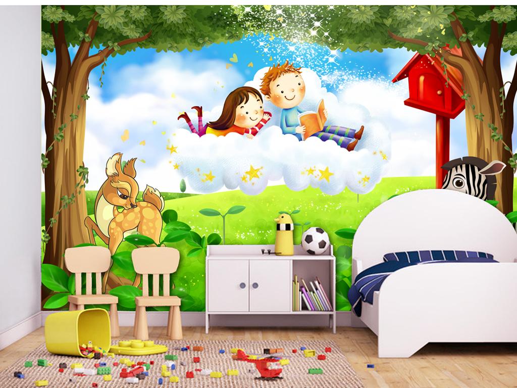 浪漫儿童房唯美卡通儿童房小孩房森林壁画