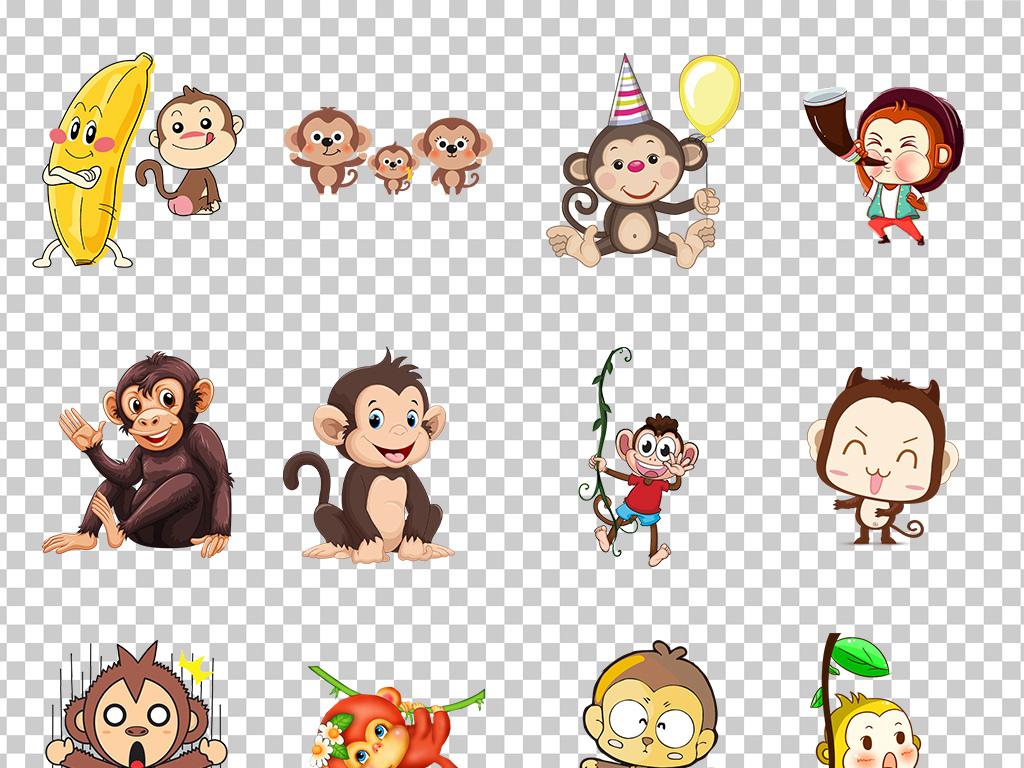01209猴子可爱手绘卡通小猴子森林小动物猴子素材免抠