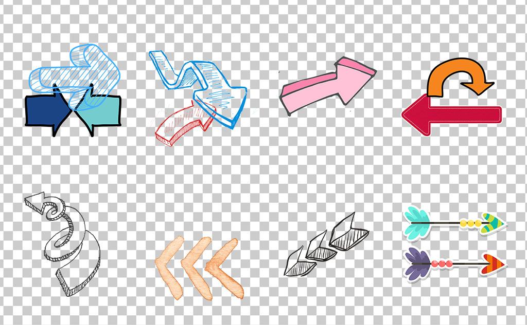 01211简约彩色手绘箭头可爱左右上下循环箭头素材免抠