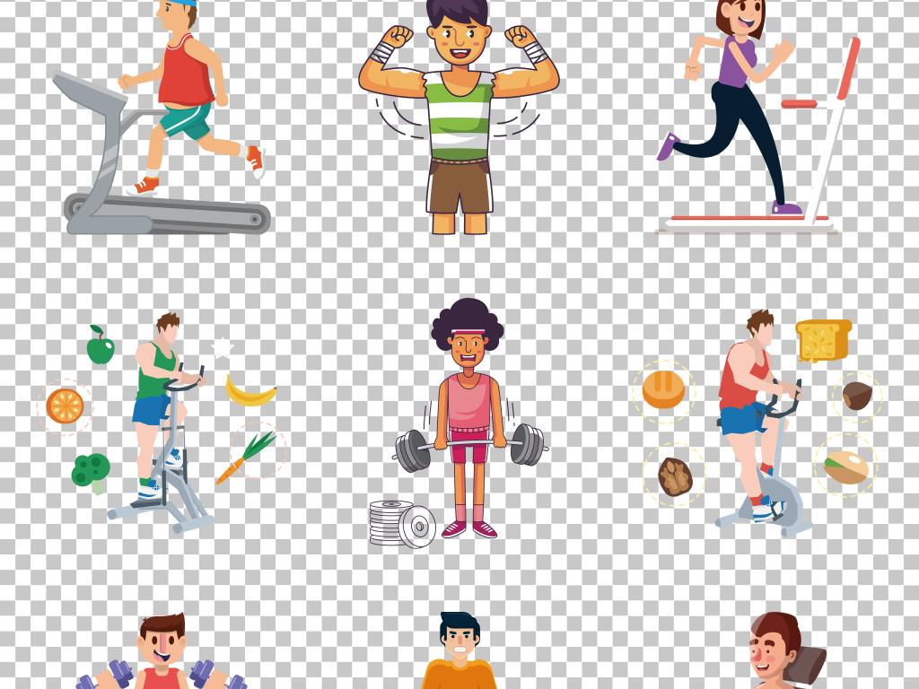 免抠元素 生活工作 其他 > 平面创意手绘卡通健身生活免抠png素材
