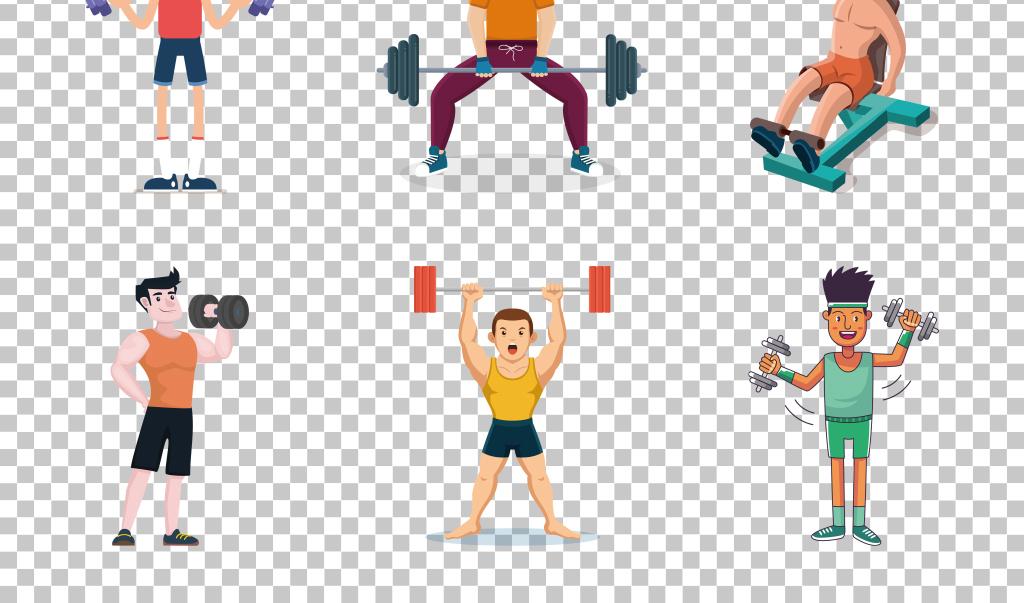 平面创意手绘卡通健身生活免抠png素材