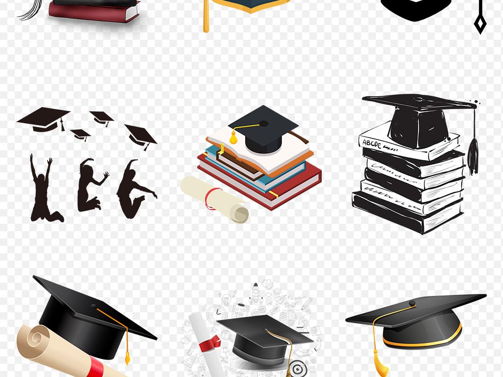 卡通博士帽毕业季学士帽海报素材背景图片png