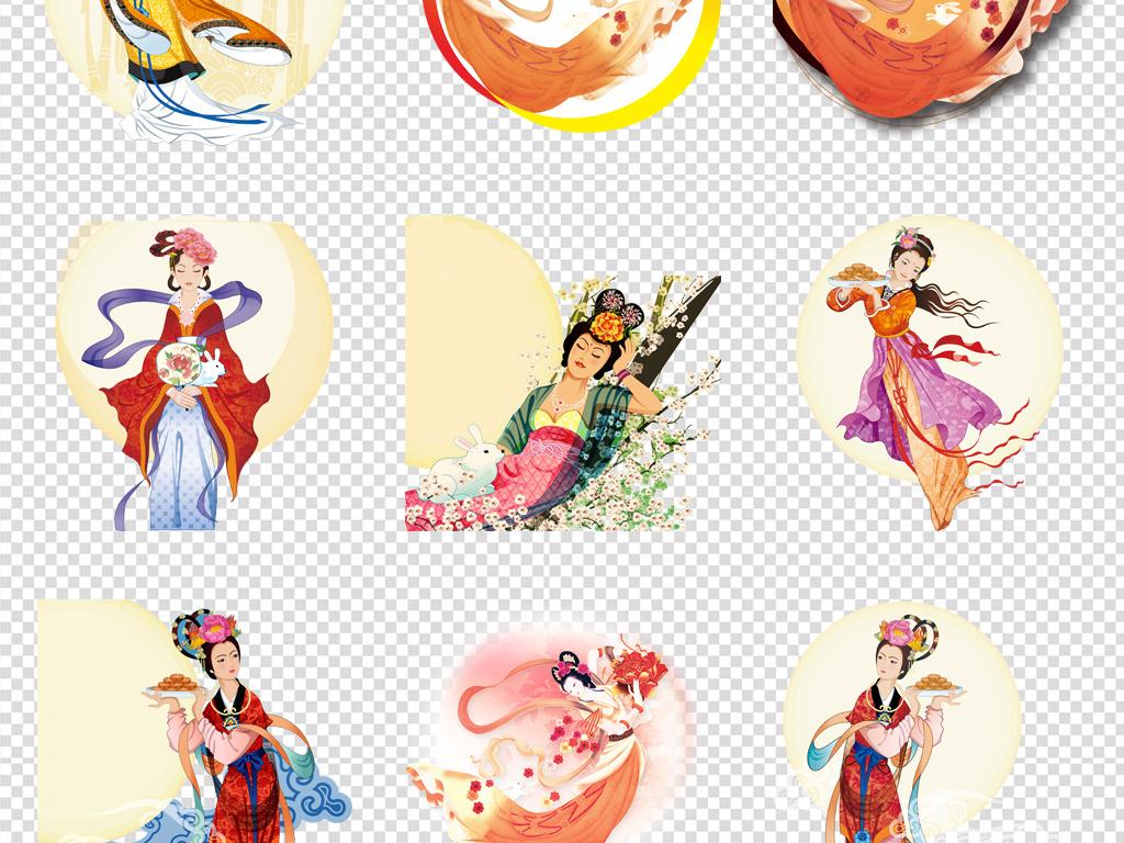 团圆月饼手绘卡通玉兔嫦娥中秋节
