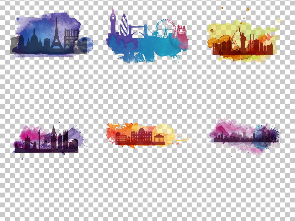 水彩手绘城市彩色底纹背景免抠png素材