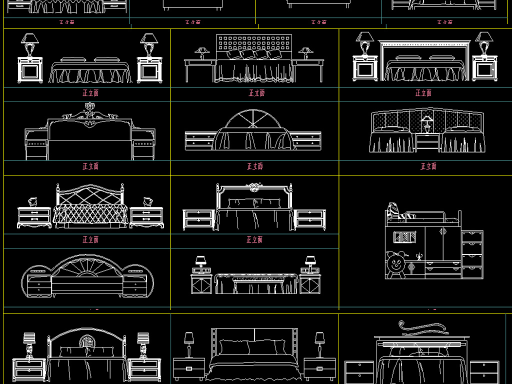 数字改变床CAD图块cad家具大小定制图片