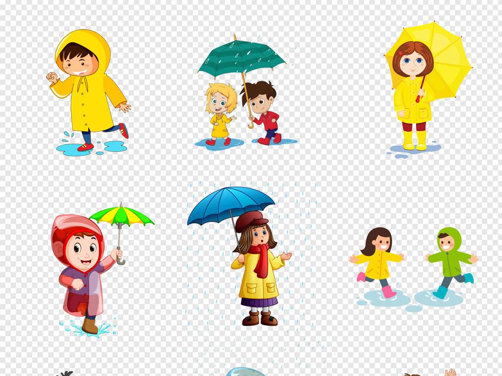免抠元素 人物形象 动漫人物 > 卡通手绘儿童节水上乐园穿雨衣的小孩