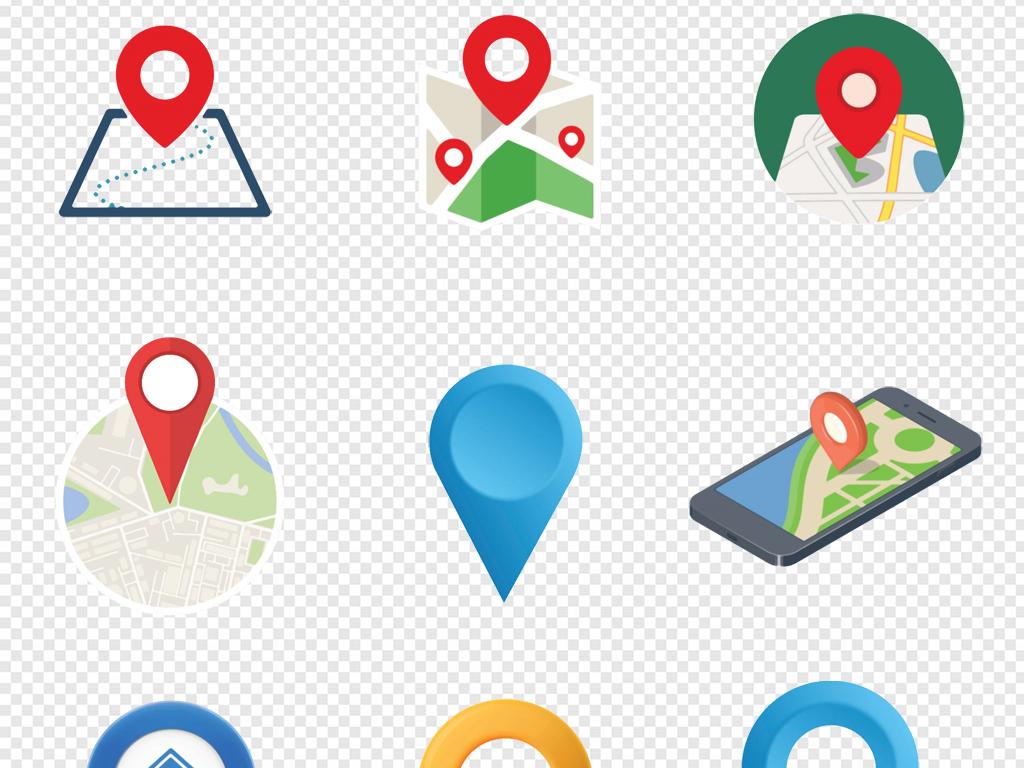 卡通手绘地图导航gps定位系统png素材