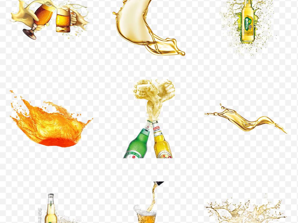 免抠元素 生活工作 食物饮品  > 卡通手绘金色液体啤酒飞溅畅饮啤酒节