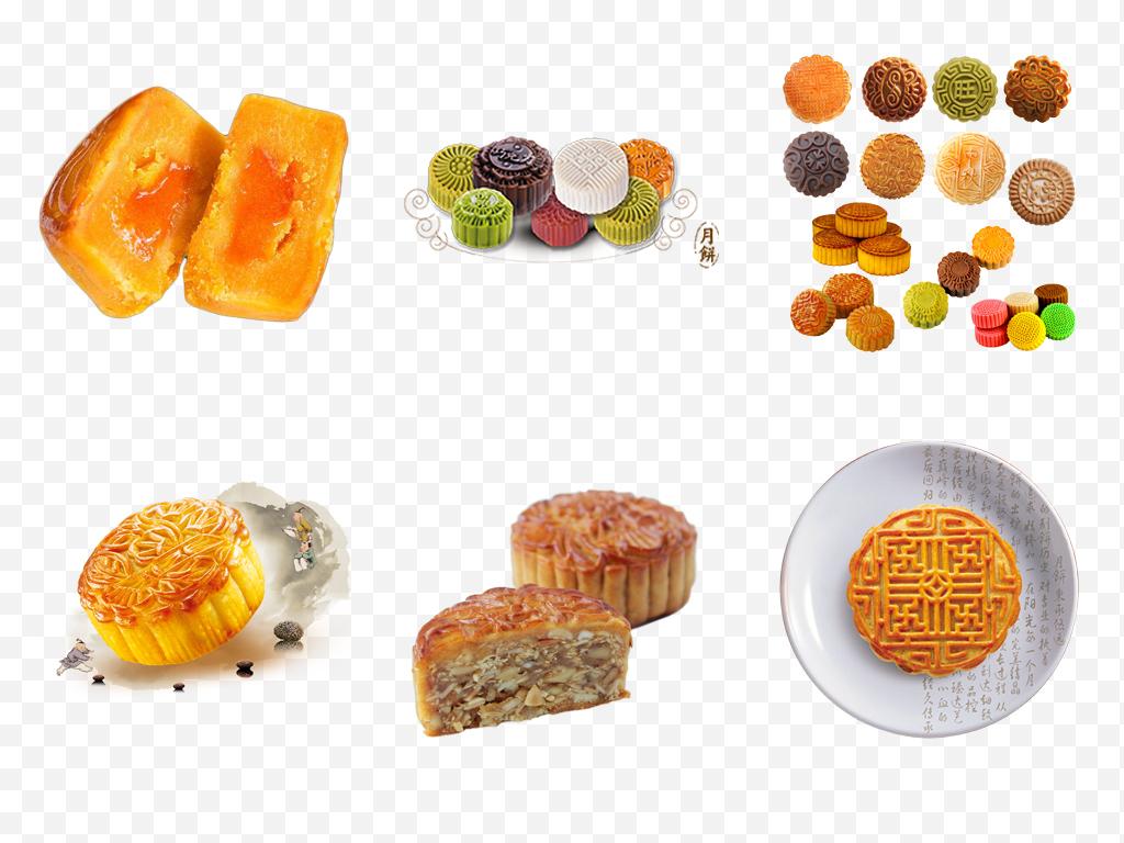 手绘卡通中秋节蛋黄月饼糕点礼品食品团圆png透明素材