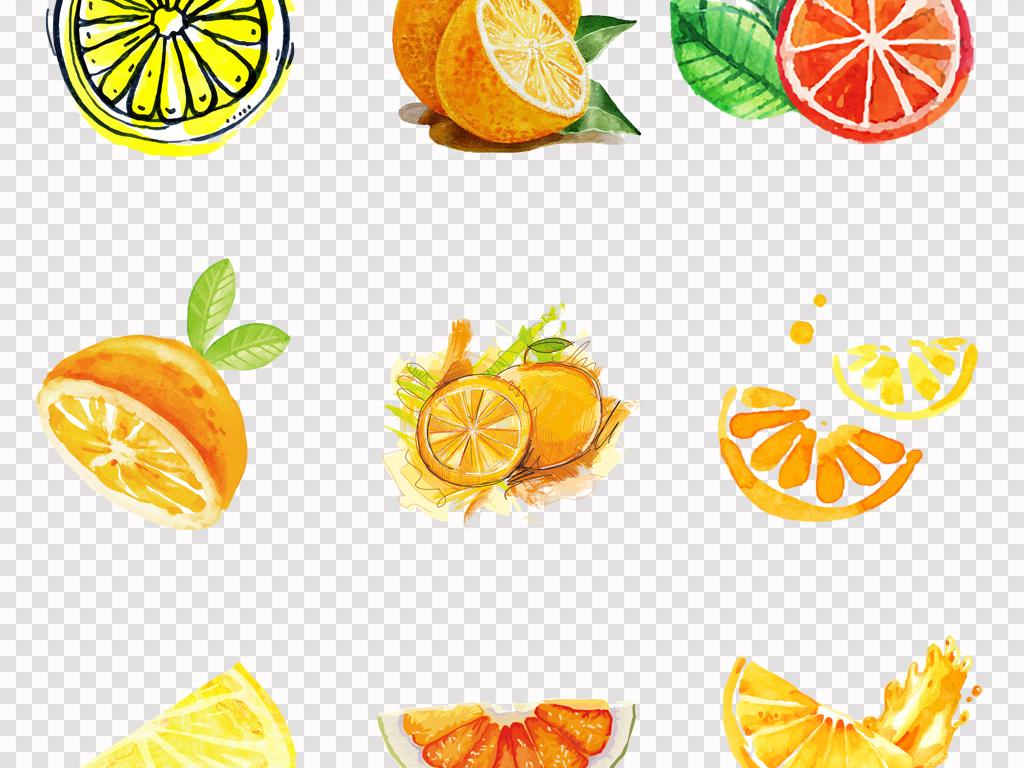 手绘美味橙子水彩橙子橘子水果海报背景png素材