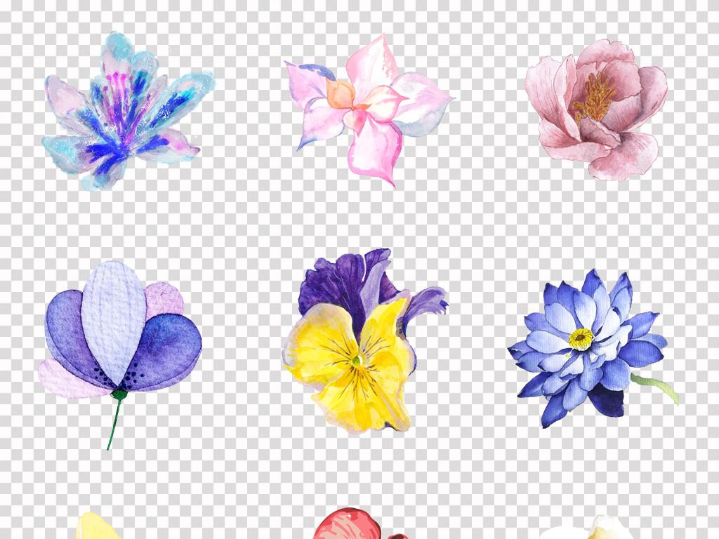 手绘唯美水彩小清新花卉花朵植物背景png素材