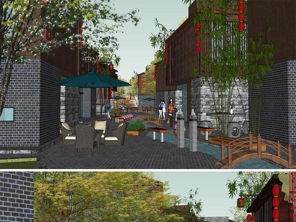 中式仿古商业建筑古镇商业街景观su模型设计图下载(40