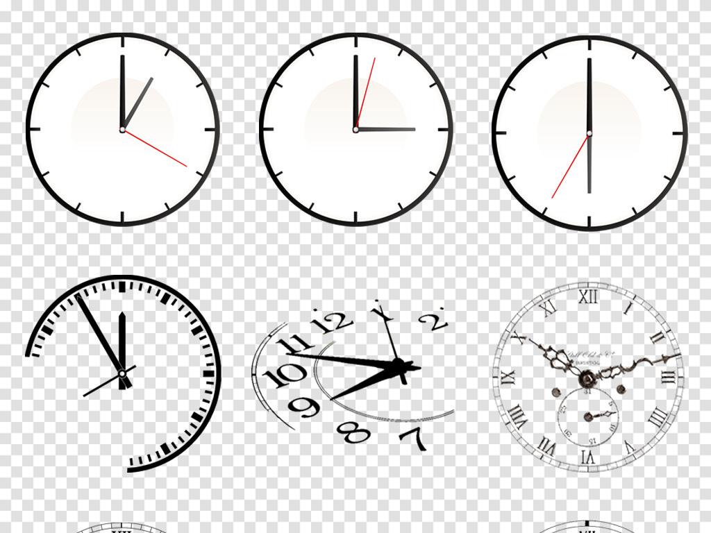 手绘欧式时钟钟表卡通闹钟时间透明背景素材