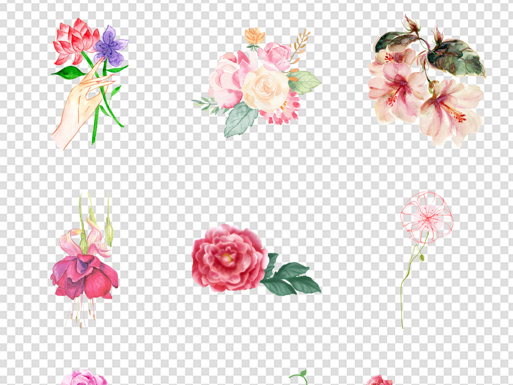 玫瑰花瓣水墨手绘手绘花瓣玫瑰花玫瑰花瓣小清新植物植物花卉