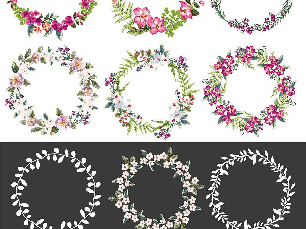 手绘水彩花卉花环图案设计素材