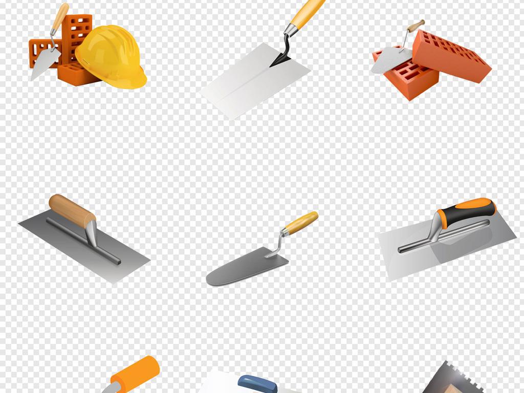 卡通手绘建筑造房子五金工具抹刀png素材