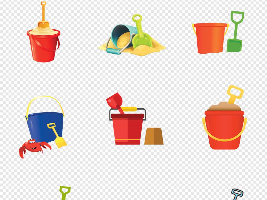 卡通手绘儿童玩具玩泥巴水桶沙桶png素材