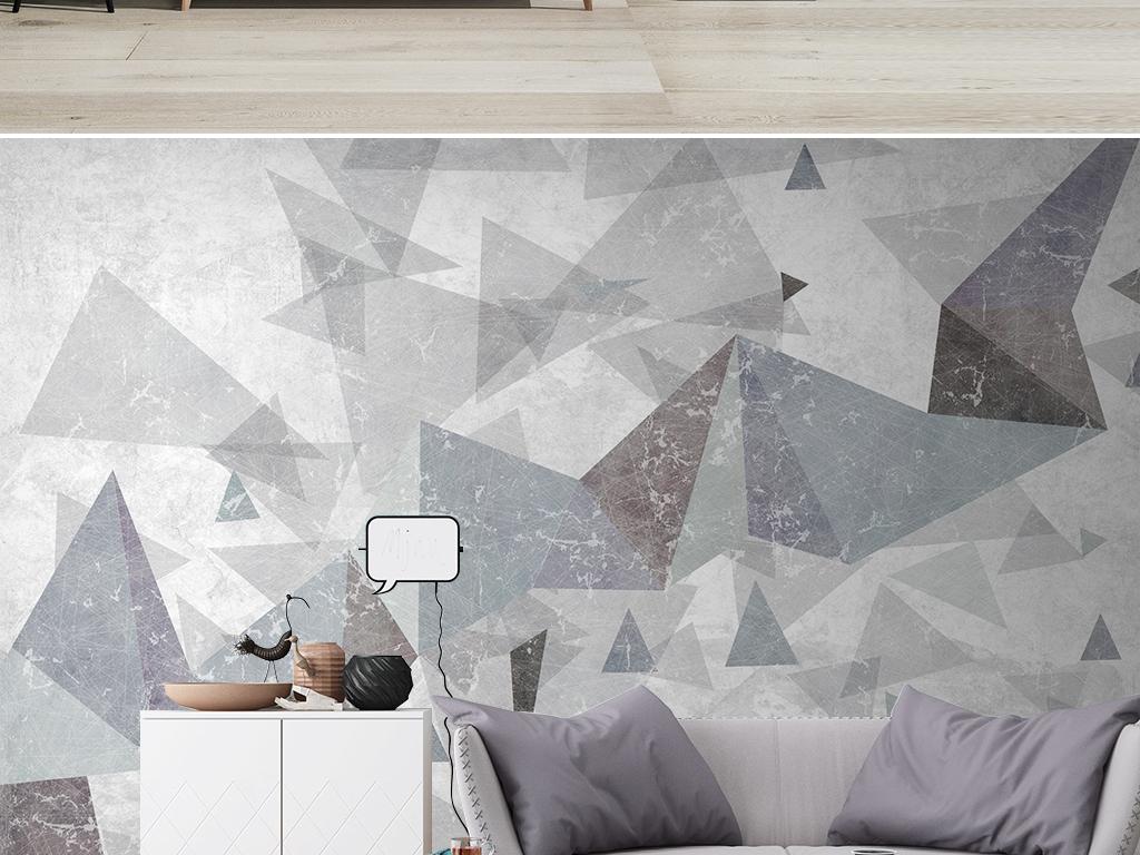 现代简约抽象立体几何电视背景墙壁画图片