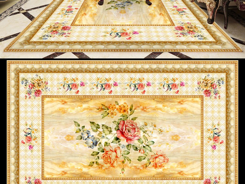 欧式手绘花石纹地毯吊顶天花