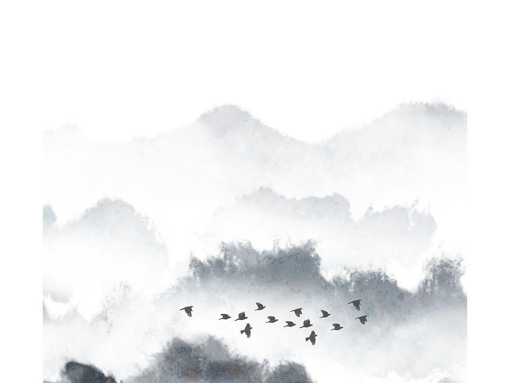 原创新中式水墨山水飞鸟风景装饰画图片设计素材_高清