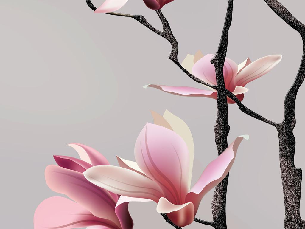 新中式手绘玉兰花鸟背景墙装饰画