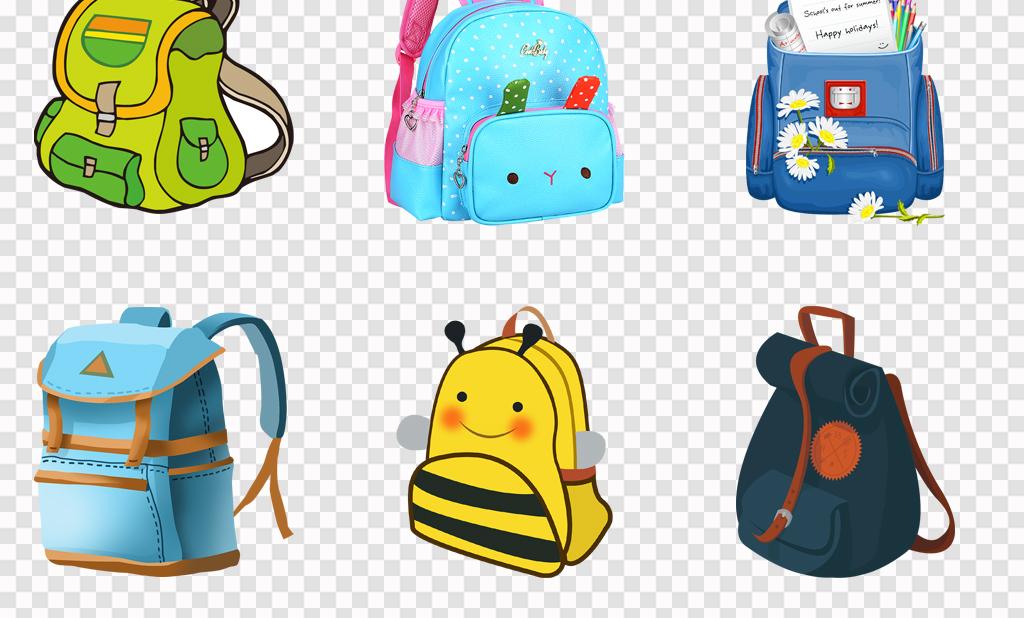 可爱卡通手绘开学季小学生书包儿童背包png素材