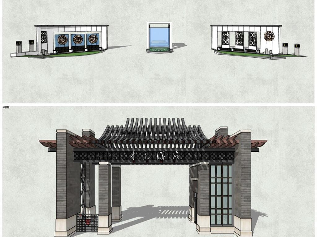 新中式大门新古典住宅小区入口大门新亚洲入口大门围墙模型图片
