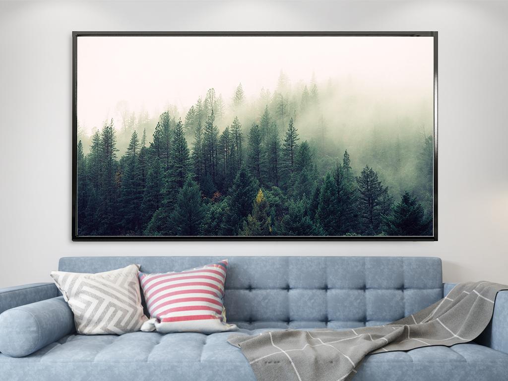 北欧森林风景装饰画客厅现代巨幅玄关简约装饰画