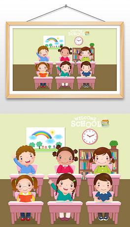 卡通扁平化小学生老师教室上课黑板背景开学季插画-EPS黑板海报