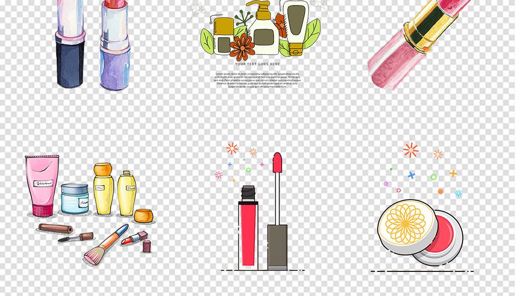 免抠元素 生活工作 其他 > 手绘化妆品淡彩化妆品口红女性用品免抠