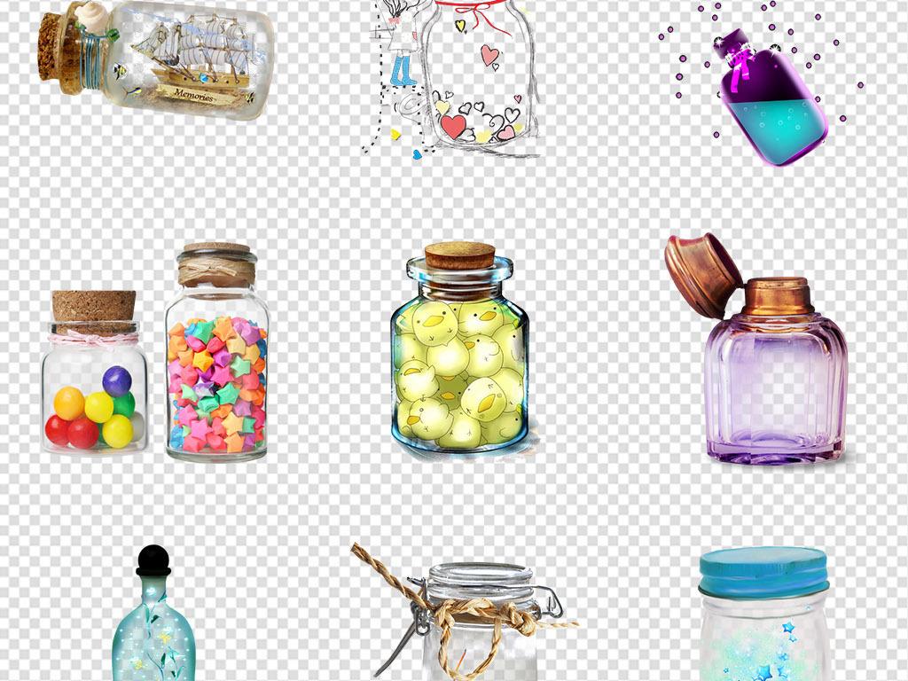 卡通手绘许愿瓶漂流瓶png透明免扣素材