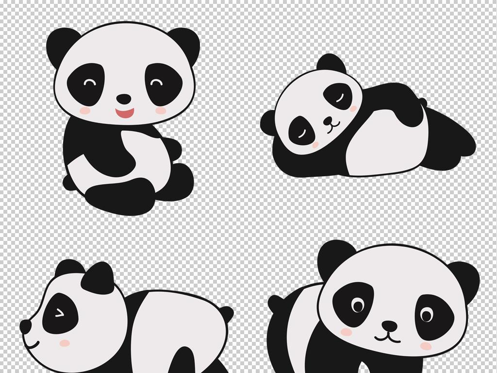 卡通可爱大熊猫竹子png免扣素材保护动物